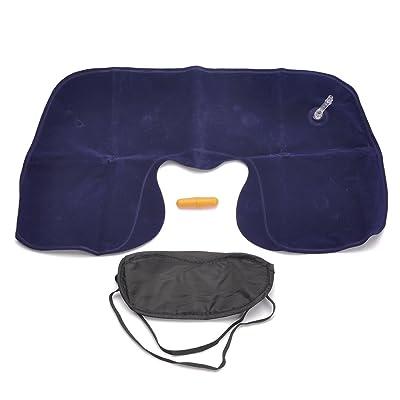 3en 1oreiller gonflable + Sleeping Masque + bouchons d'oreilles Set de voyage–Bleu foncé + Noir + Orange