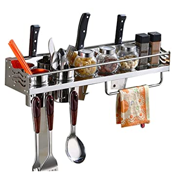 Kitchen Stainless Steel Wall Mounted Pan Pot Rack, 5 In 1 Wall Mounted  Hanging Kitchen