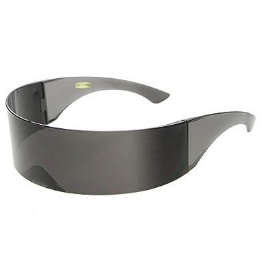 67add336154 zeroUV - Futuristic Wrap Around Monoblock Shield Sunglasses (Black)  Amazon. co.uk  Clothing