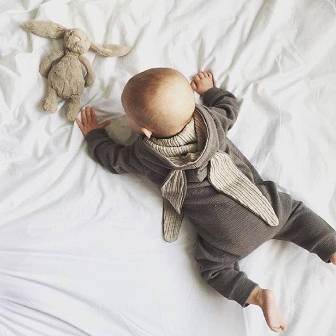 829fafec24f2 Girl Boy Hooded Romper Jumpsuit friendG Rabbit 3D Ear Newborn Baby ...