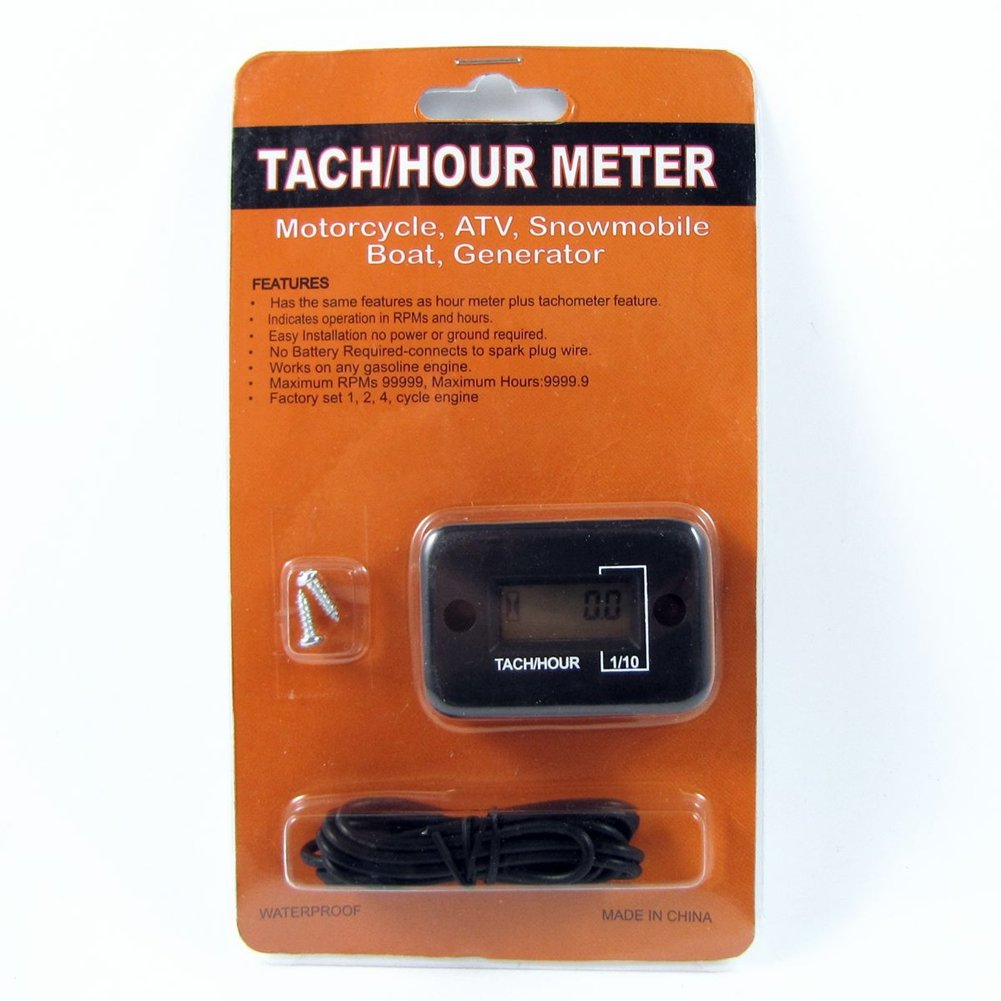 Vibration Activated LCD Tach//hour Meter For 2 4 Stroke Gas Engine Motorbike