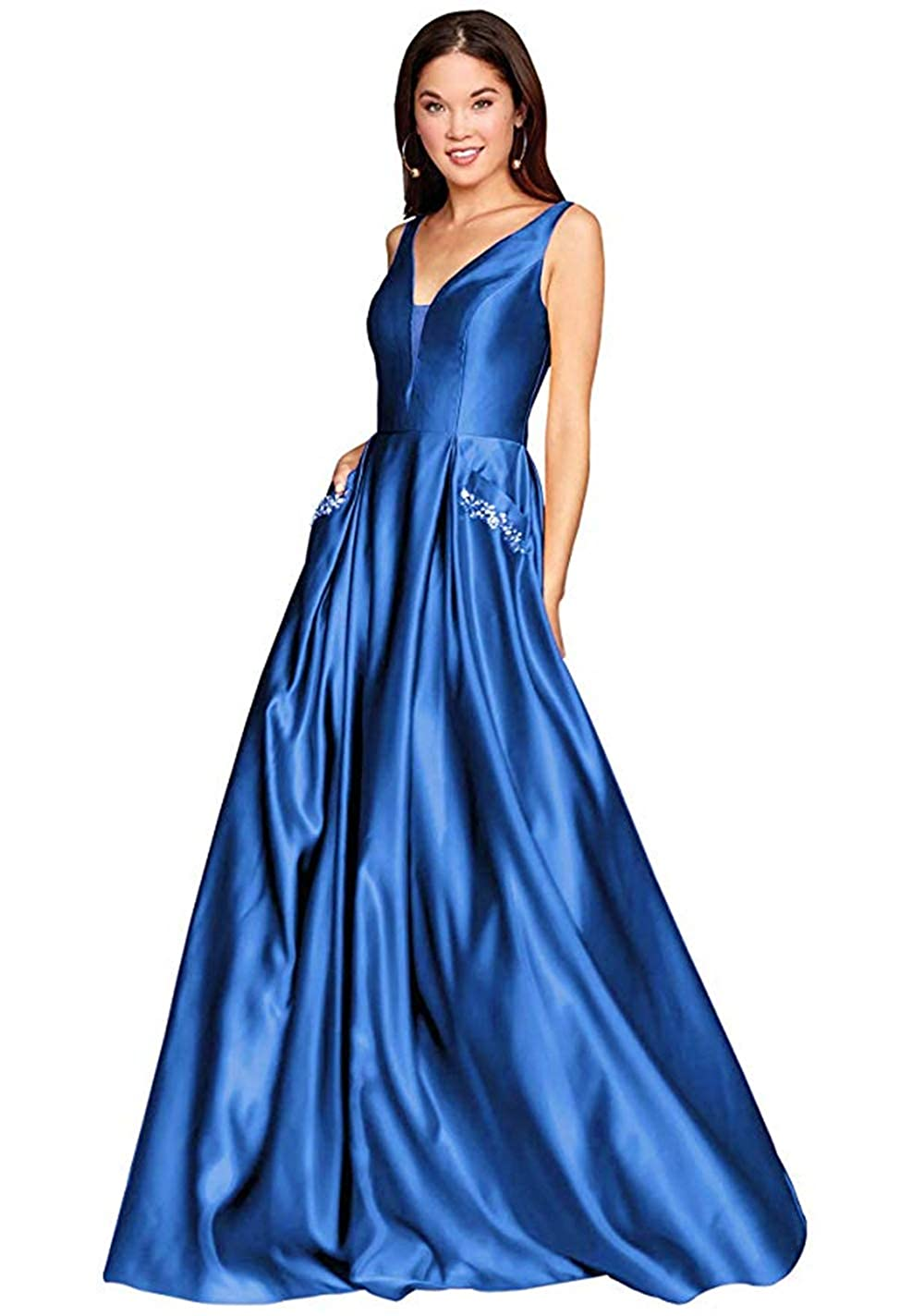 01oceanbluee PROMNOVAS Women's V Neck Backless Beaded Satin Prom Dress Long Formal Evening Gown with Pockets