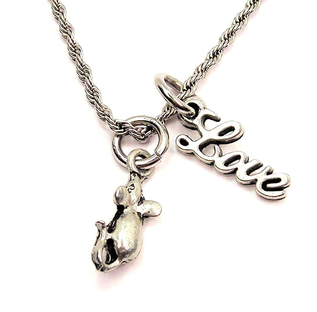 ChubbyChicoCharms House Mouse Rope Chain Cursive Love Necklace