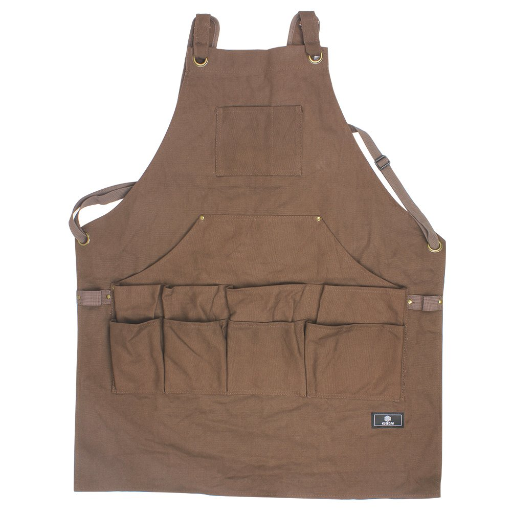 Work Apron With Tool Pockets, Upgraded Heavy Duty Canvas Tool Apron Workshop Apron With Quick Release Buckle Adjustable M To XXL