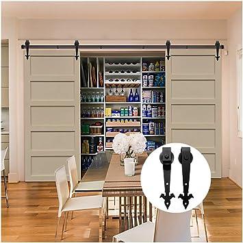 LWZH - Kit de rieles para puerta corredera de granero de 18FT para doble puerta (anchura de puerta de 54