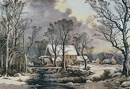 Currier & Ives Winter Scene NWinter In The Country The Old Grist Mill Lithograph 1864 By Currier & Ives Poster Print by (18 x 24) Currier & Ives Scene