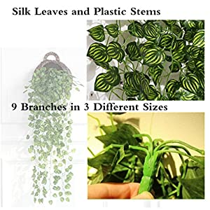 ReachTop Artificial Ivy Leaves Garland, 90cm 35inch Office Greenery Fake Silk Watermelon Leaves Foliage Hanging Vine Plant for Home Fence Wedding Party Garden Wall Decoration 4