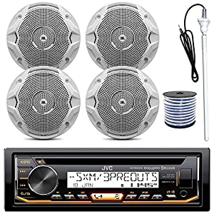 "JVC KD-R97MBS MP3/USB/AUX Bluetooth Marine Boat Yacht Stereo Receiver CD Player Bundle Combo With 4 (2 Pairs) JBL MS6510 150 Watt 6.5"" Dual Cone White Marine Speaker + 18g 50FT Speaker Wire"