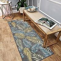 1 Piece 2 x 6 Blue Grey Beach Theme Runner Rug, Tan Gray Tropical Pattern Hallway Carpet Palm Tree Leaves Botanical Leaf Patterned Entryway Carpeting Coastal Nautical For Entrance Way, Polypropylene