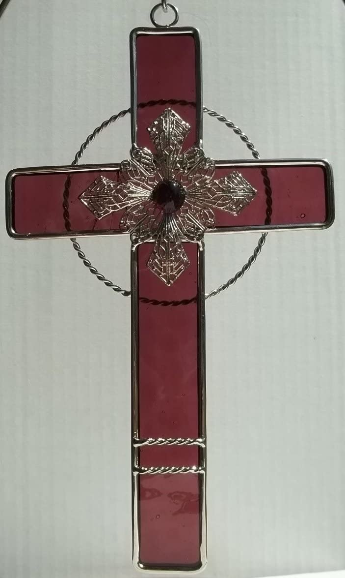 Stained Glass Cross with Filigree – Mauve