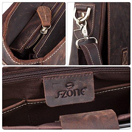 """S-ZONE Handmade Vintage Crazy Horse Leather 15.6"""" Laptop Briefcase Messenger Bag Shoulder Satchel Bag by S-ZONE (Image #5)"""