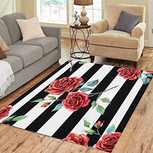 Pinbeam Area Rug Pink Flower Watercolor Pattern Rose Red Striped Black Home Decor Floor Rug 5' x 7' Carpet