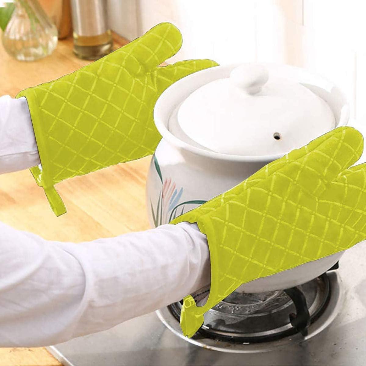 para Cocinar y Hornear Protecci/ón de la Mu/ñeca Guantes Cocina Resistentes al Calor con Superficie de Silicona Antideslizante Guantes Horno Engrosamiento 1 Par Verde HNJKJEU Manopla Horno