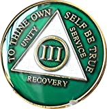 3 Year AA Medallion Metallic Green Tri-Plate Gold Plated Chip III