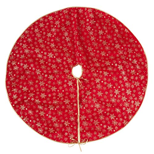 Snowflake Collection Tree Skirt - SARO LIFESTYLE Flocon de Neige Collection Red Organza Christmas Tree Skirt with Gold Snowflake Design, 48