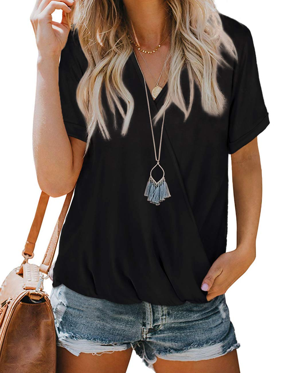 NSQTBA Womens V Neck Wrap Tops Short Sleeve Summer Blouses Loose Casual Shirts
