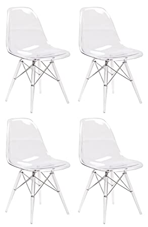 Juego de 4 sillas modernas de policarbonato con cojín negro ...