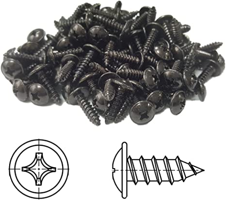 Vis /à T/ôle cruciforme t/ête bomb/ée plate avec rondelle galvanis/é noir 4,8 x 25 mm 20 pi/èces