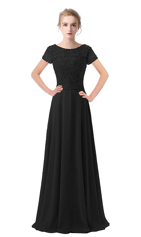 Black VaniaDress Women Lace Short Sleeves Long Evening Dress Prom Gown V061LF
