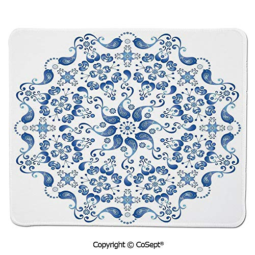 Ergonomic Mouse pad,Eastern Ottoman Mosaic Ceramic Style Artsy Round Shape with Birds Baroque Image,for Laptop,Computer & PC (15.74