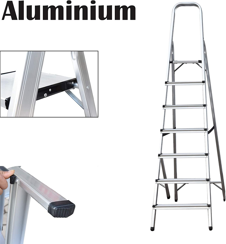 Escalera de 7 peldaños, escalera plegable de aluminio, portátil, con capacidad de 150 kg: Amazon.es: Bricolaje y herramientas
