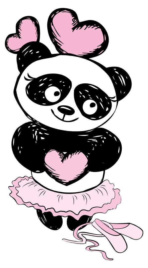 Wandtattoo Kinderzimmer Musik Wandsticker Süßer Panda Bär als Balletttänzerin M