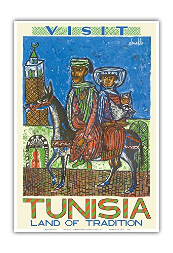 Pacifica Island Art Visit Tunisia - Land of Traditions - North Africa - Vintage World Travel Poster by Hatem El Mekki c.1954 - Master Art Print - 13in x 19in
