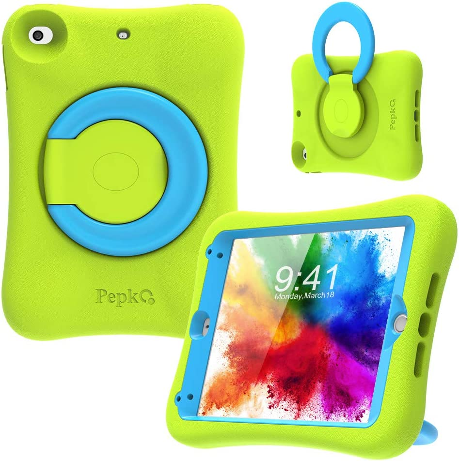 PEPKOO Kids Case for iPad Mini 5 4 – Lightweight Flexible Shockproof, Folding Handle Stand, Full Body Rugged Boys Girls Cover for Apple iPad Mini 5th Generation 4th Gen 7.9 inch, Green Blue