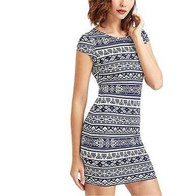 c8dbfdbd48e ISHILA Print Boho Summer Dress Vintage Cap Sleeve Dresses New Brief Slim  Bodycon Dress Multi XS