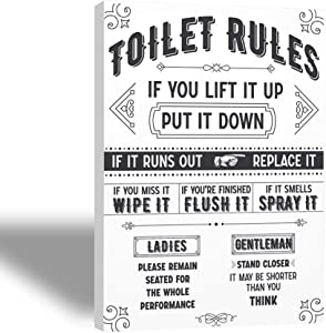 Funny Wall decor for Bathroom (8X10-inch) Vintage wall sign wall art Framed Canvas signs with Restroom Rules for teens White and Black Picture for half hall bath Decor Rustic Farmhouse HD print