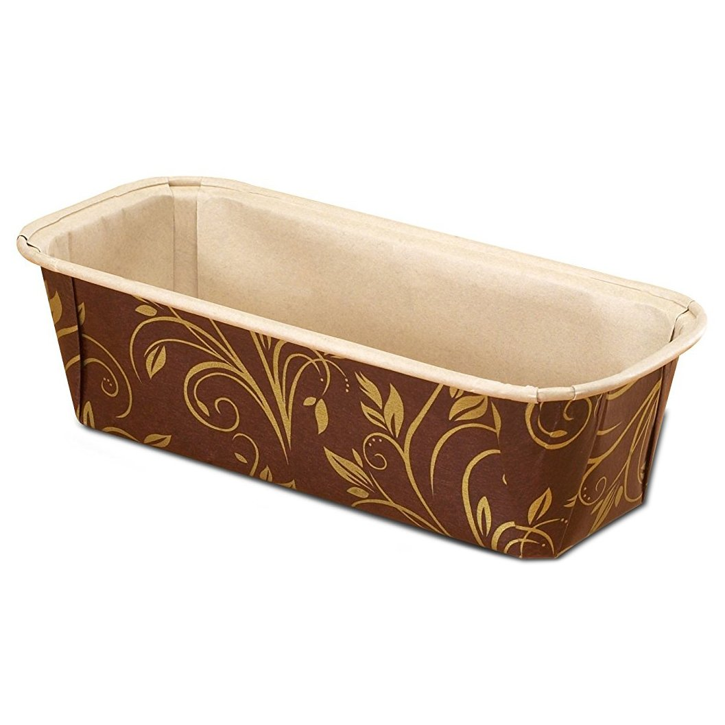 Premium Paper Baking Loaf Pan, Perfect for Chocolate Cake, Banana Bread, Brown with Gold Print, Set of 150 - by EcoBake