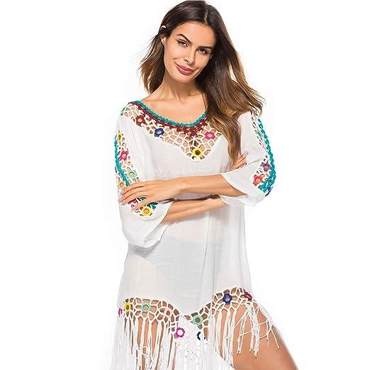 806c9a88452d3 Women Chiffon Swimsuit Cover Up Hollow Out Crochet Tassel Bikini Top 3/4  Sleeve Cardigan Loose Beach Dress at Amazon Women's Clothing store:
