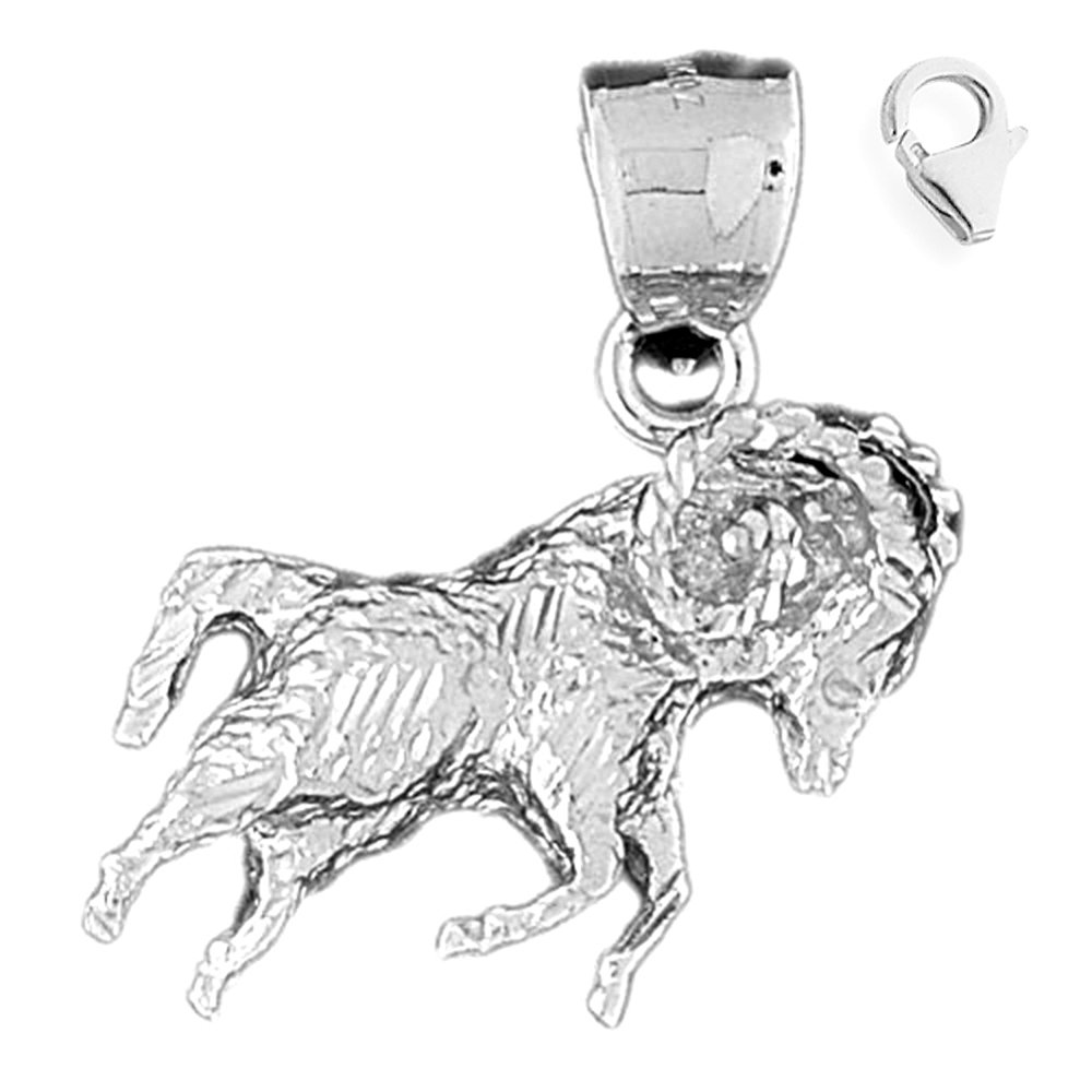 Sterling Silver 38mm Zodiac Aries Pendant Aries with 7.5 Charm Bracelet Jewels Obsession Zodiac