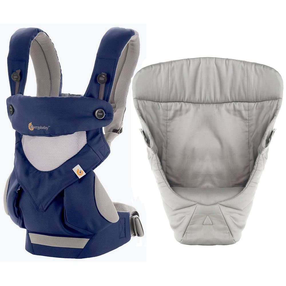 Ergobaby Bundle - 2 Items: French Blue Cool AIr Mesh All Carry Position 360 Baby Carrier and Easy Snug Infant Insert Grey