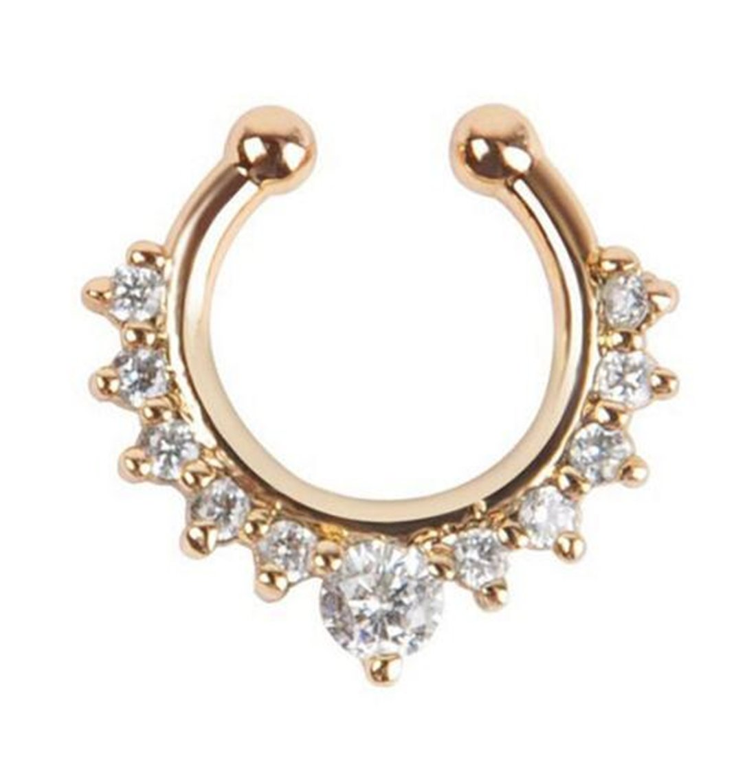 Tmrow 1pc Crystal Diamond False C Nose Ring For Women,Silver