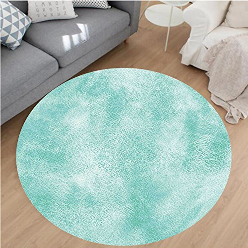 Nalahome Modern Flannel Microfiber Non-Slip Machine Washable Round Area Rug-Watercolor Background with Hazy Featured Color Fades Boho Hippie Print Turquoise Seafoam Area Rugs Home Decor-Round 63