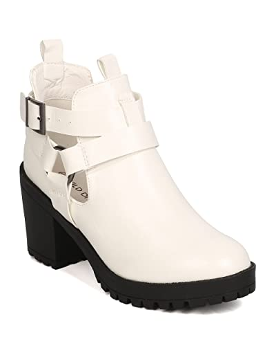 Women Leatherette Lug Sole Bootie - Festival Casual Dressy - Cut Out Block Heel - GC73 by