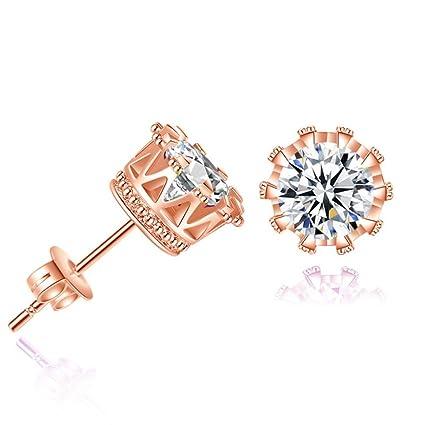 FEITONG Pendiente de corona de diamante simple de moda Stud Pendientes Mujer Joyería (Oro Rosa