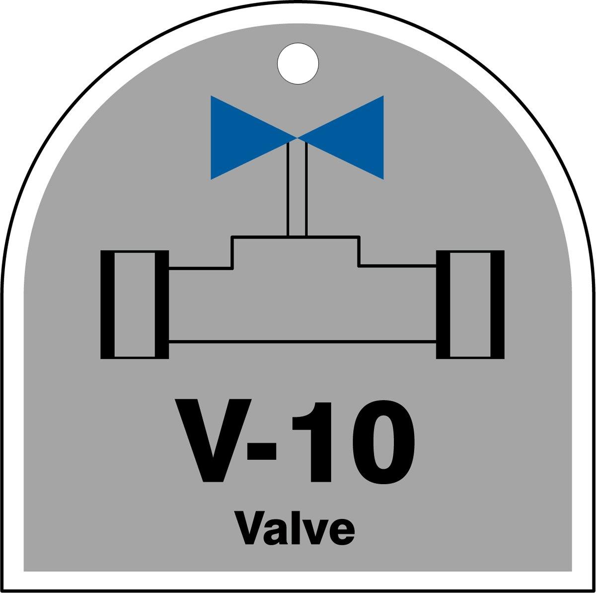 Accuform TDJ210VPE PlasticV-10 Valve Energy Source Shape ID Tag Black//Blue//White on Gray 2-1//2 W x 2-1//2 L 2-1//2 W x 2-1//2 L