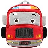 """Toddler Backpack for Boys Girls, 12"""" Car Preschool Bag Plush Cartoon Bookbag for Little Boys Girls Kids (Fire Engine)"""