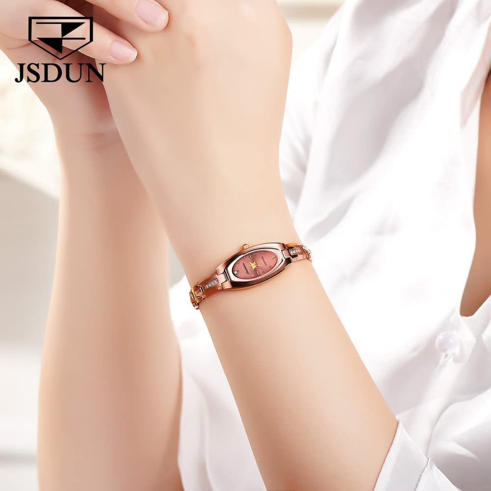 JSDUN Lady Square Oval Dial Slim Watches with Tungsten Steel Elegant Dress Thin Watch Band Link Rose Gold/Gold/Silver/Black Tone Prime Oval dial- rose gold tone