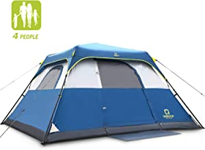 QOMOTOP Camping Tents, 4/6/10 People Instant Set Up Within 1 Minute Tent Equipped with Rainfly and Carry Bag, Water-Proof Pop up Tent with Electric Cord Acess, Light Weight Cabin Style Tent