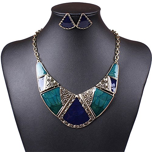 Best Of British Party Costume Ideas - SDLM Womens Jewelry Vintage Wild Resin Collar Fashion Chunky Necklace Stud Earrings Set