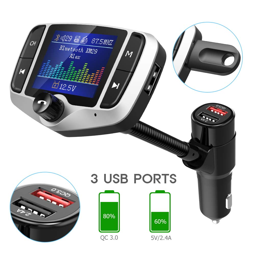 KM29 Silver Support USB Drive microSD Aux 1.8 Color Screen Wireless Radio Adapter Handsfree Car Kit with QC3.0 /& 5V//2.4A Charging Car Battery Reading EQ Nulaxy Bluetooth FM Transmitter for Car