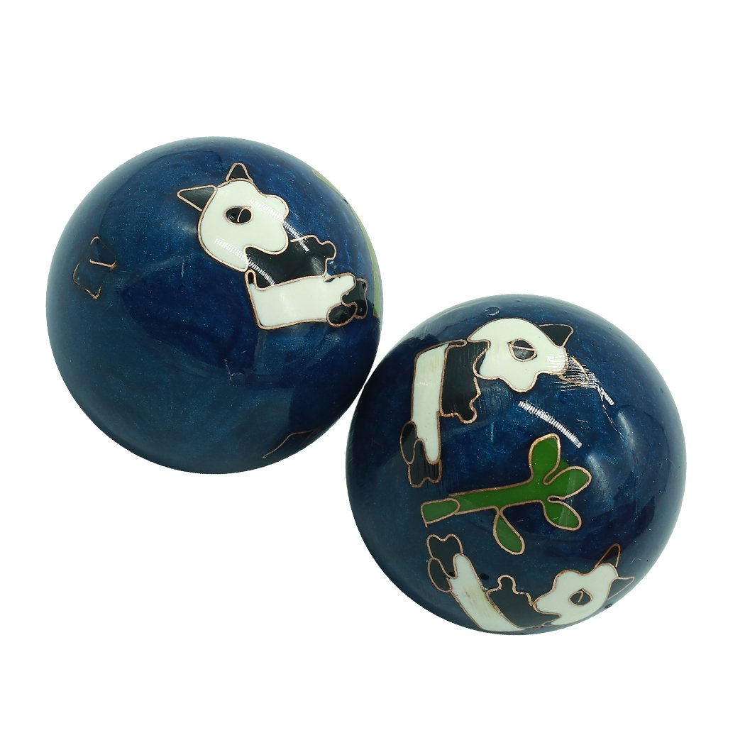 1.5'' Cloisonne Health Hand Balls Carved Panda Pattern Exercise Stress Balls Craft Collection BS155 (S, blue)