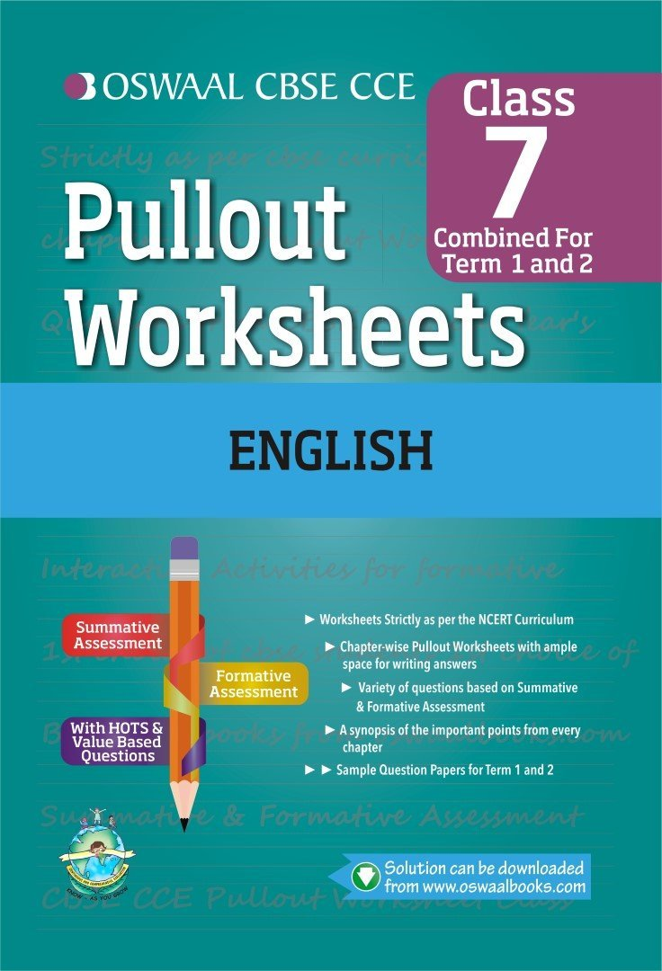 Oswaal CBSE CCE Pull-out Worksheets English for Class 7 Old Edition ...