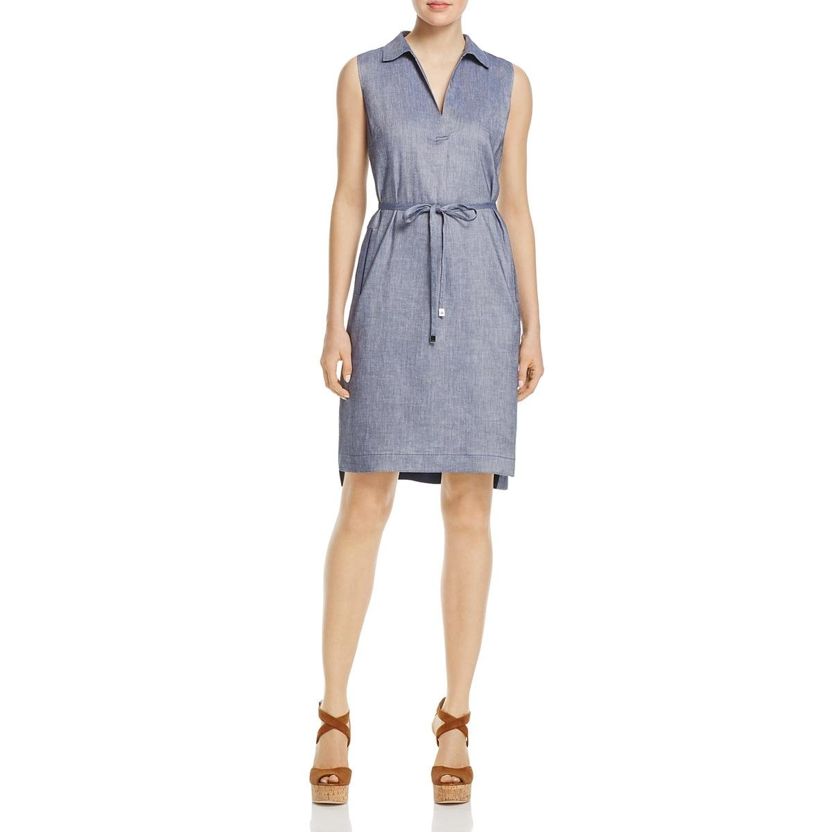 Pacific Multi Med Wash Denim Lafayette 148 New York Womens Robinson Pockets Point Collar Wear to Work Dress