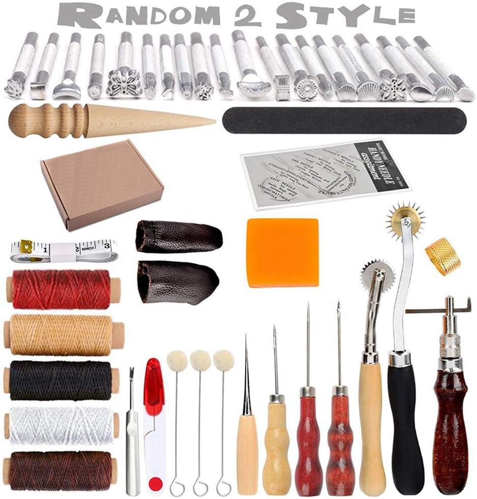 HOSTK 33pc DIY Kit de herramientas de mano de cuero Craft Set para costura Costura Estampado Talla Sillín de cuero Obra de arte Accesorios Awl Thimble