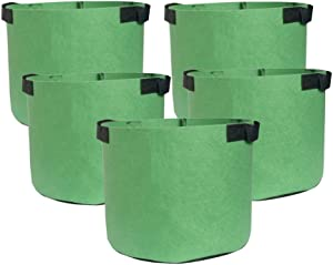 HONGVILLE 5-Pack Grow Bags/Aeration Fabric Pots w/Handles (2-Gallons, All Green)