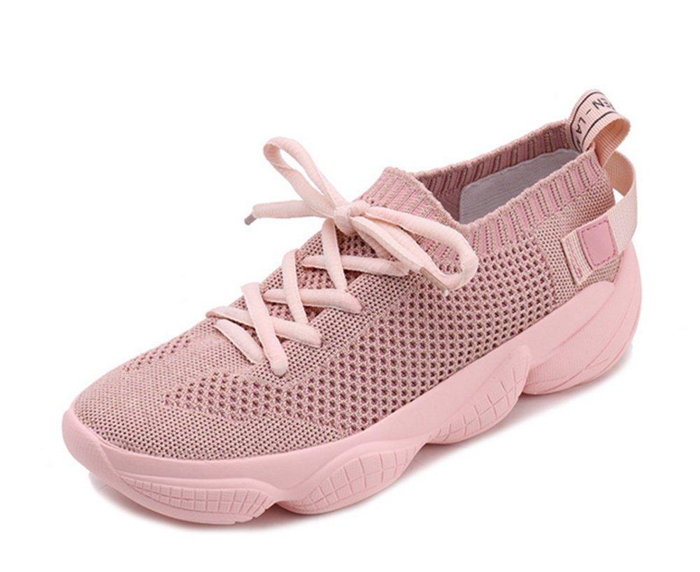 XIE Otoño Verano Volando Tejer Zapatos Casuales de Las Mujeres Salvajes Zapatos de Mujer de Encaje Grueso con Cordones Zapatos Casuales de Moda Casual Mujer 35-39, Pink, 35 35|pink